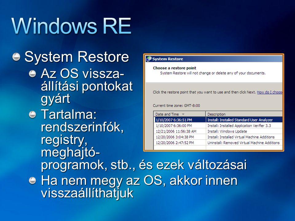 System Restore Az OS vissza- állítási pontokat gyárt Tartalma: rendszerinfók, registry, meghajtó- programok, stb., és ezek változásai Ha nem megy az OS, akkor innen visszaállíthatjuk