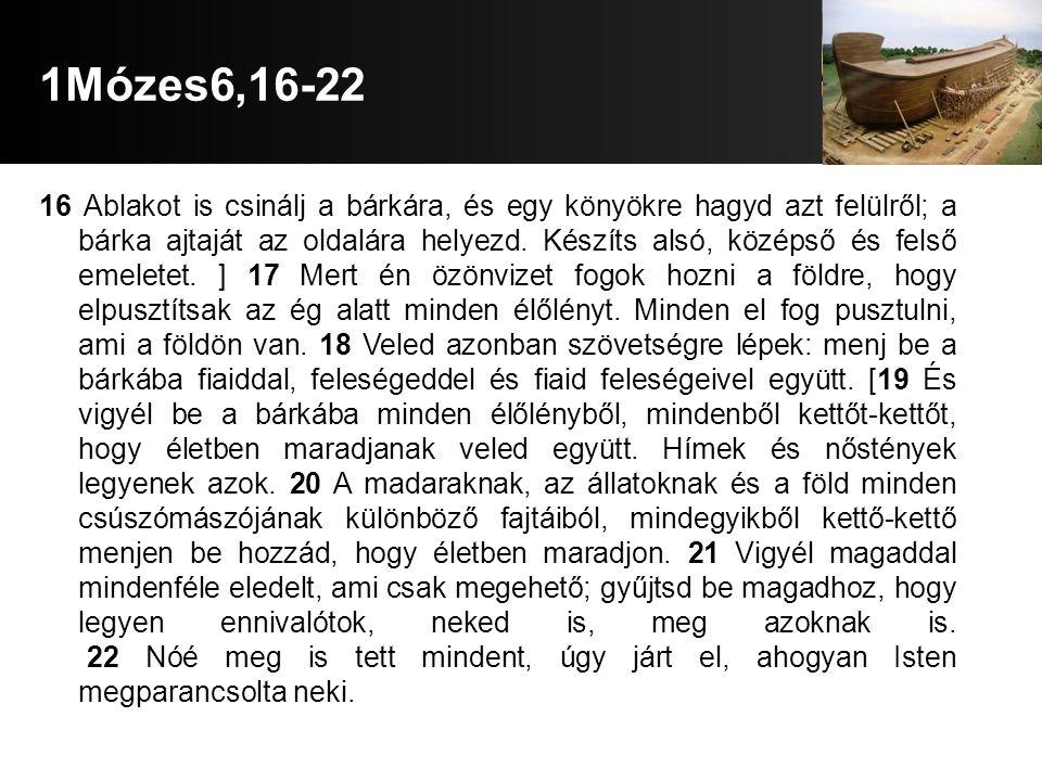 1Mózes6,16-22 16 Ablakot is csinálj a bárkára, és egy könyökre hagyd azt felülről; a bárka ajtaját az oldalára helyezd.