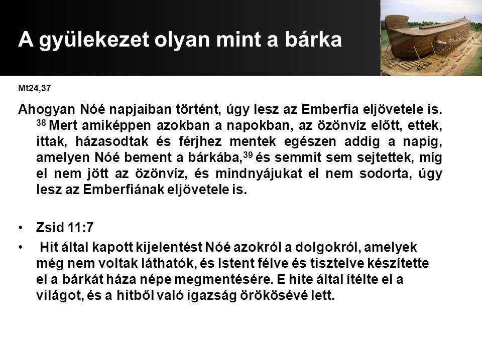 A gyülekezet olyan mint a bárka Mt24,37 Ahogyan Nóé napjaiban történt, úgy lesz az Emberfia eljövetele is. 38 Mert amiképpen azokban a napokban, az öz