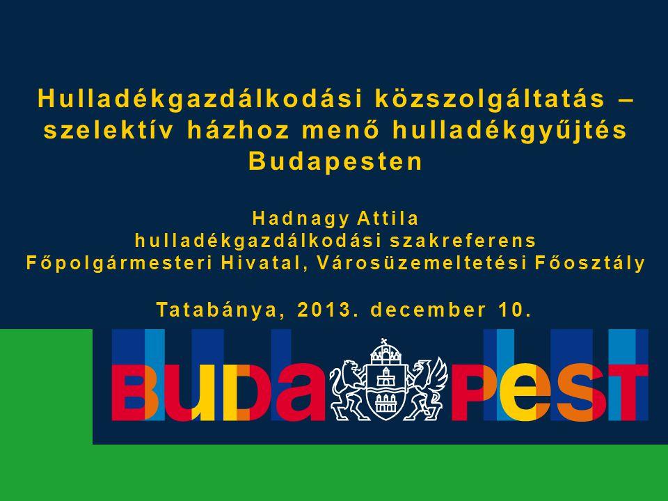 Hulladékgazdálkodási közszolgáltatás – szelektív házhoz menő hulladékgyűjtés Budapesten Hadnagy Attila hulladékgazdálkodási szakreferens Főpolgármeste