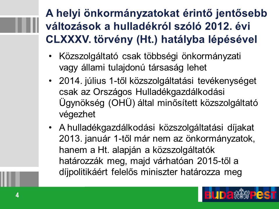 4 A helyi önkormányzatokat érintő jentősebb változások a hulladékról szóló 2012. évi CLXXXV. törvény (Ht.) hatályba lépésével Közszolgáltató csak több