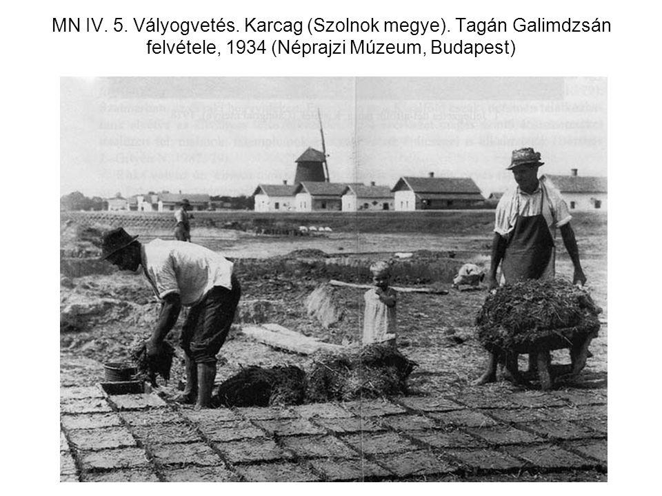 MN IV. 5. Vályogvetés. Karcag (Szolnok megye). Tagán Galimdzsán felvétele, 1934 (Néprajzi Múzeum, Budapest)