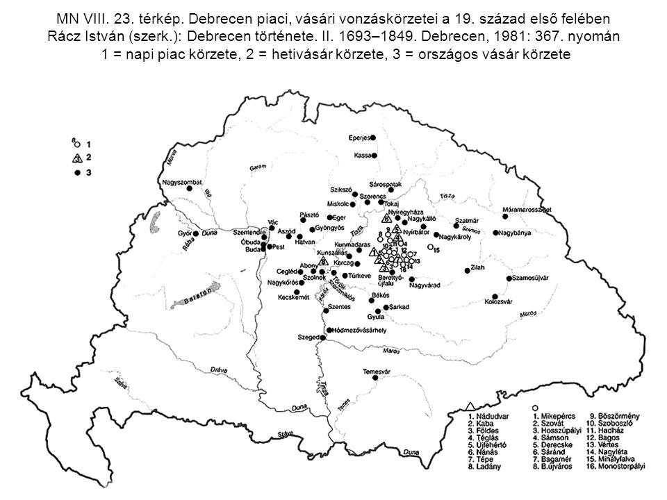 MN VIII. 23. térkép. Debrecen piaci, vásári vonzáskörzetei a 19. század első felében Rácz István (szerk.): Debrecen története. II. 1693–1849. Debrecen