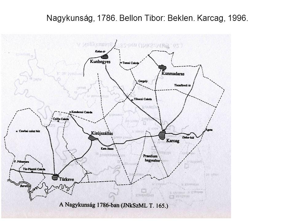 Nagykunság, 1786. Bellon Tibor: Beklen. Karcag, 1996.
