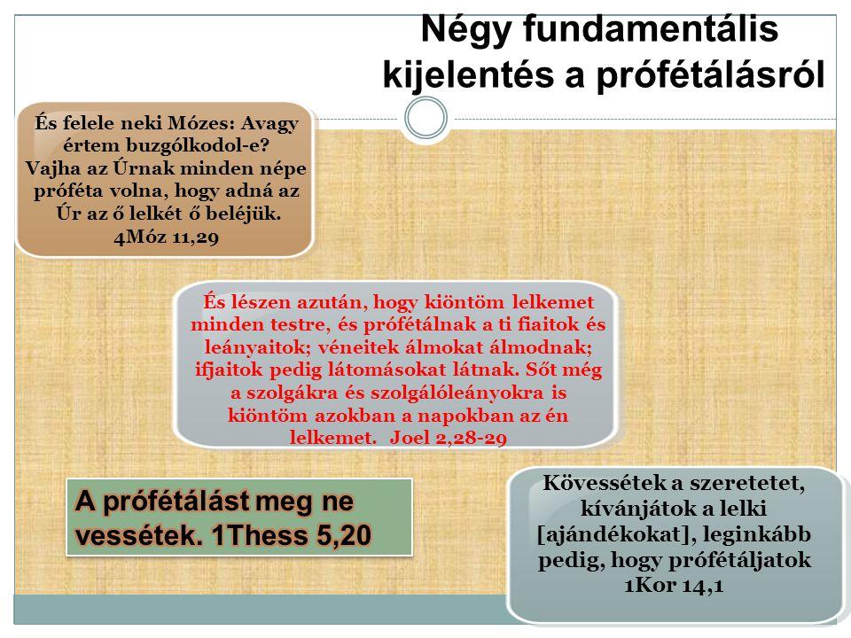Négy fundamentális kijelentés a prófétálásról És felele neki Mózes: Avagy értem buzgólkodol-e? Vajha az Úrnak minden népe próféta volna, hogy adná az