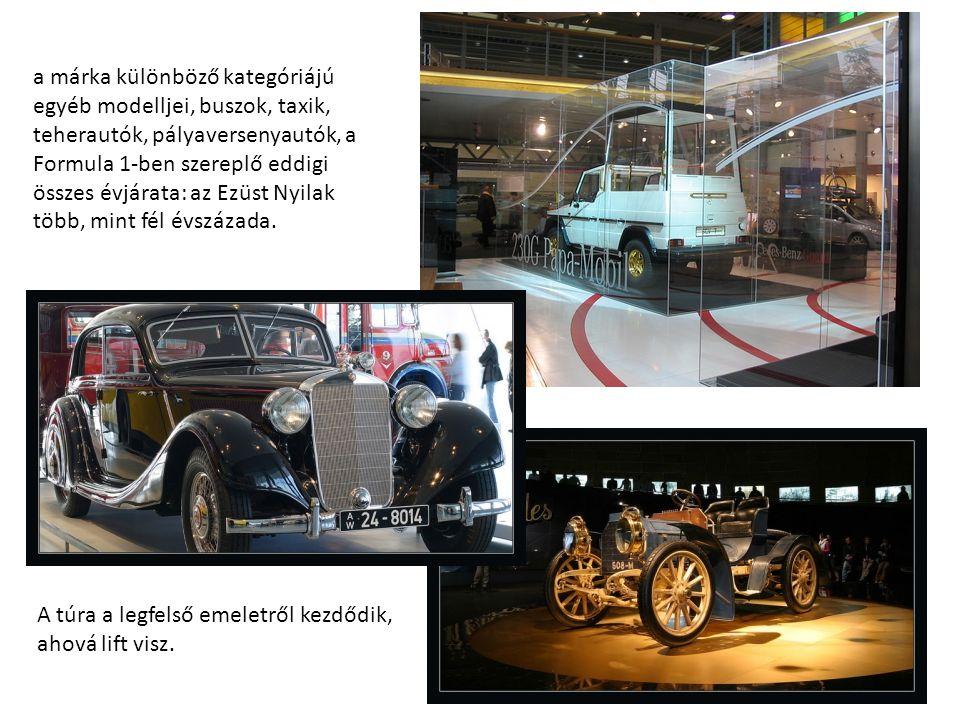 a márka különböző kategóriájú egyéb modelljei, buszok, taxik, teherautók, pályaversenyautók, a Formula 1-ben szereplő eddigi összes évjárata: az Ezüst