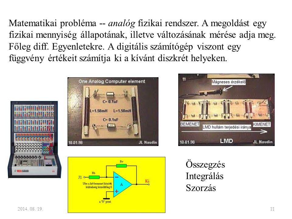 2014. 08. 19.11 Matematikai probléma -- analóg fizikai rendszer. A megoldást egy fizikai mennyiség állapotának, illetve változásának mérése adja meg.