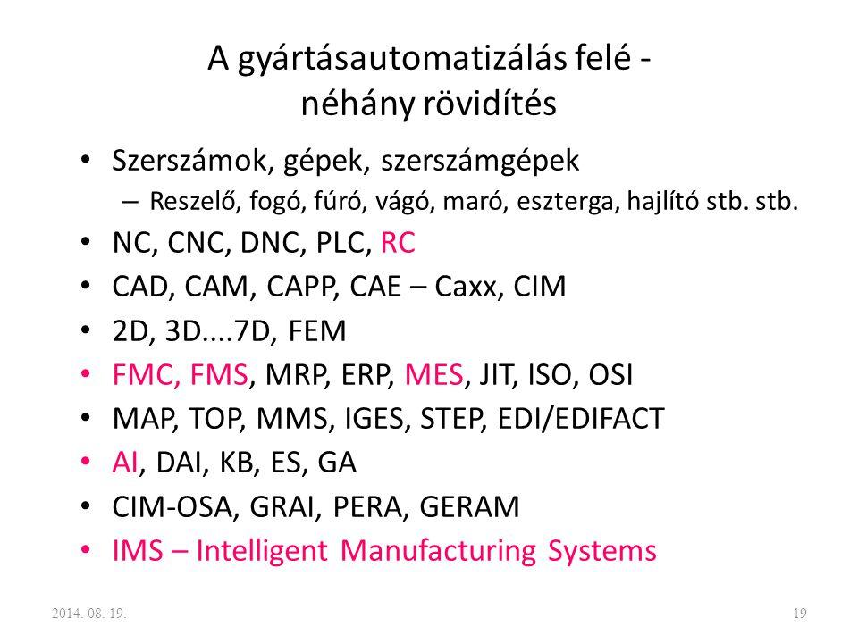 A gyártásautomatizálás felé - néhány rövidítés Szerszámok, gépek, szerszámgépek – Reszelő, fogó, fúró, vágó, maró, eszterga, hajlító stb. stb. NC, CNC