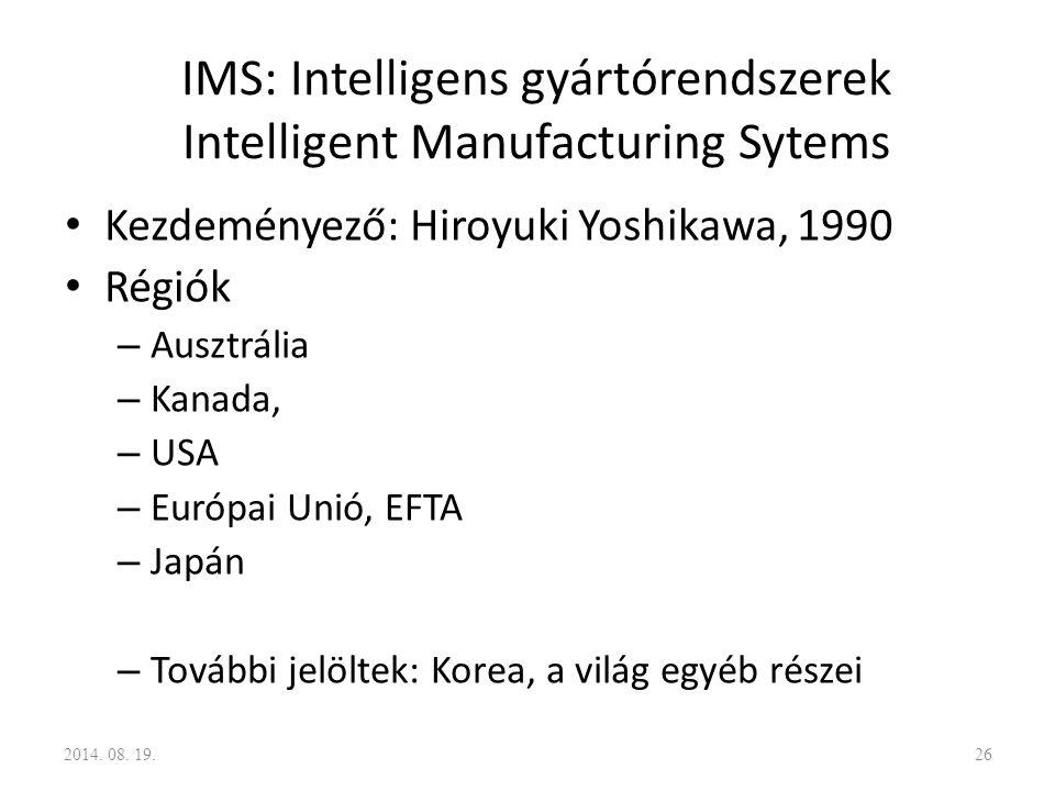 IMS: Intelligens gyártórendszerek Intelligent Manufacturing Sytems Kezdeményező: Hiroyuki Yoshikawa, 1990 Régiók – Ausztrália – Kanada, – USA – Európa