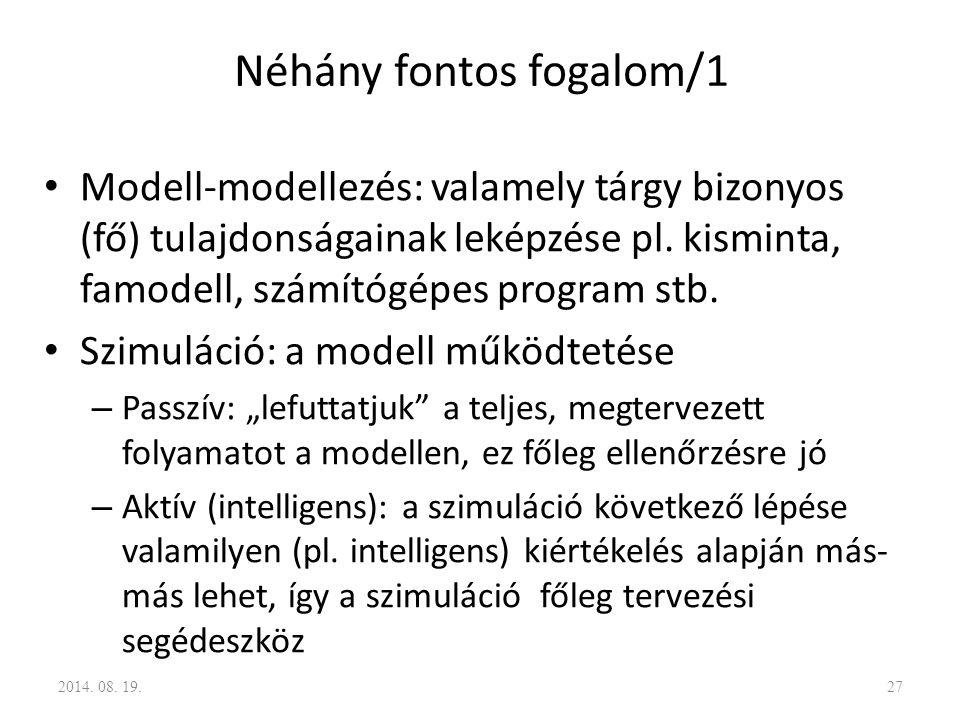 Néhány fontos fogalom/1 Modell-modellezés: valamely tárgy bizonyos (fő) tulajdonságainak leképzése pl. kisminta, famodell, számítógépes program stb. S