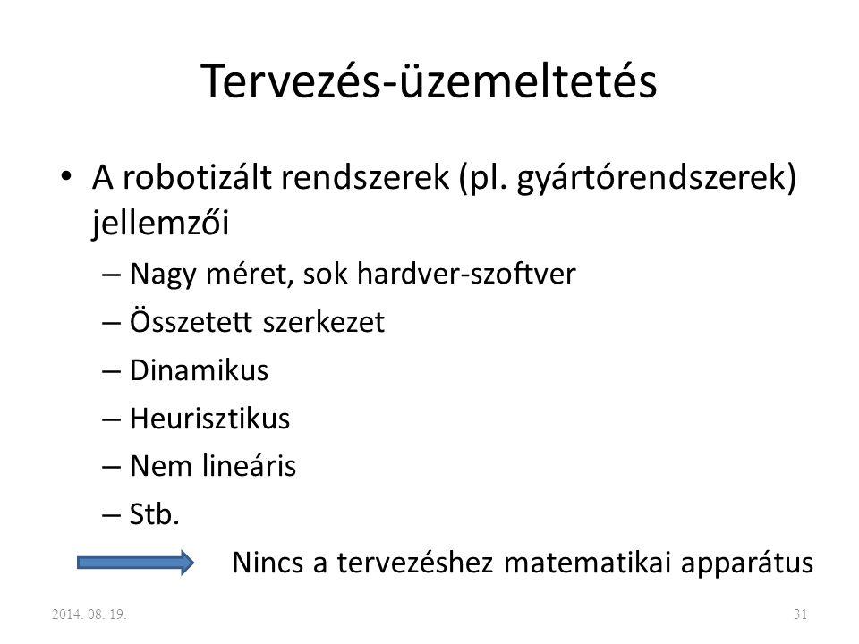 Tervezés-üzemeltetés A robotizált rendszerek (pl. gyártórendszerek) jellemzői – Nagy méret, sok hardver-szoftver – Összetett szerkezet – Dinamikus – H