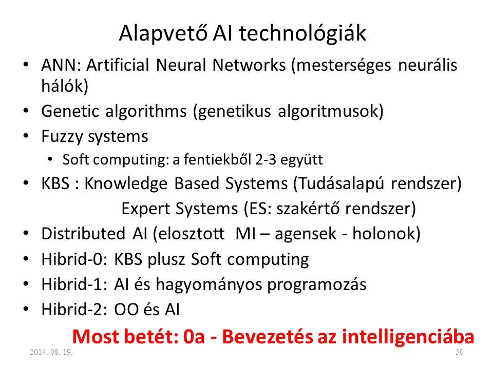 Alapvető AI technológiák ANN: Artificial Neural Networks (mesterséges neurális hálók) Genetic algorithms (genetikus algoritmusok) Fuzzy systems Soft c