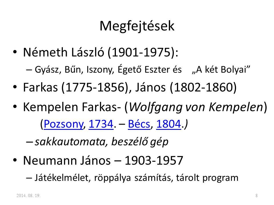 """Megfejtések Németh László (1901-1975): – Gyász, Bűn, Iszony, Égető Eszter és """"A két Bolyai"""" Farkas (1775-1856), János (1802-1860) Kempelen Farkas- (Wo"""