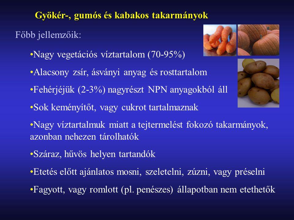 Burgonya: Élelmezésre és takarmányozásra egyaránt használjuk Termésátlaga (8-22t/ha) és táplálóértéke fajtafüggő Szárazanyag-tartalmának 75-90%-a keményítő, emészthetősége nyers formában nem tökéletes Fehérjetartalma a sz.a.