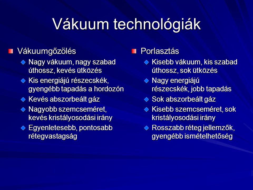 Vákuum technológiák Vákuumgőzölés Nagy vákuum, nagy szabad úthossz, kevés ütközés Kis energiájú részecskék, gyengébb tapadás a hordozón Kevés abszorbe