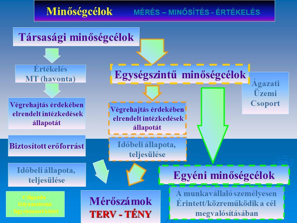 Mérőszám Minőségcélok tervezési folyamata és elemei Stratégiai minőségcél + üzleti terv MINŐSÉGCÉL fejezetelve (társasági össz.33 db) Végrehajtás érde