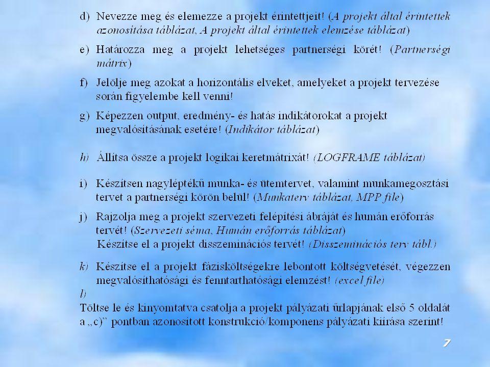38 A projekt által érintettek azonosítása és elemzése (stakeholder analízis) hátrányt szenvedők előnyt élvezők probléma kezelés partnerségi kör projekt megvalósítás >> kompenzáció A projekt érintettjeinek elemzése