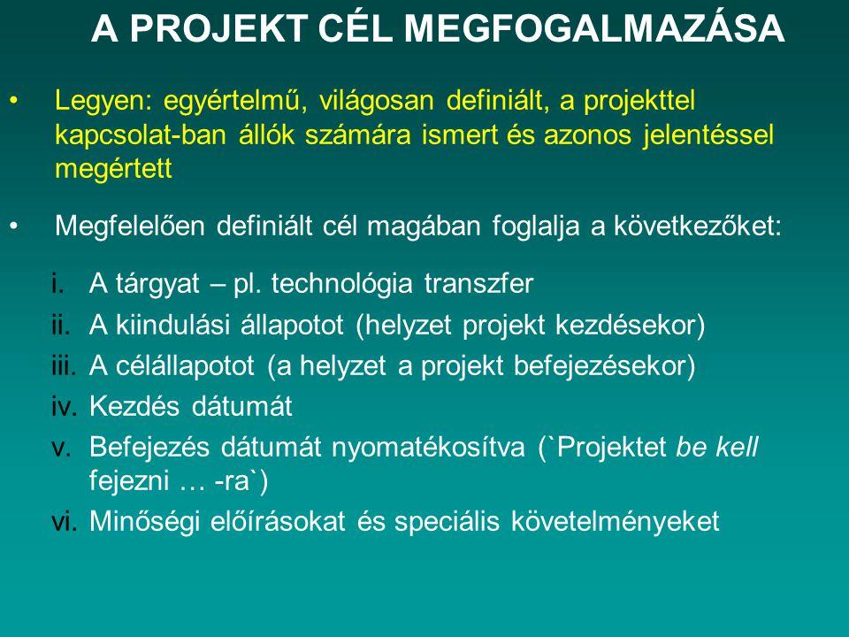 A PROJEKT CÉL MEGFOGALMAZÁSA Legyen: egyértelmű, világosan definiált, a projekttel kapcsolat-ban állók számára ismert és azonos jelentéssel megértett Megfelelően definiált cél magában foglalja a következőket: i.A tárgyat – pl.