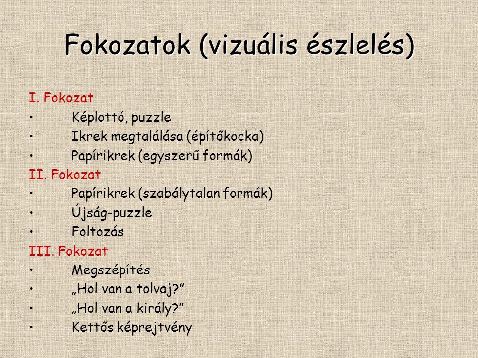Fokozatok (vizuális észlelés) I. Fokozat Képlottó, puzzle Ikrek megtalálása (építőkocka) Papírikrek (egyszerű formák) II. Fokozat Papírikrek (szabályt