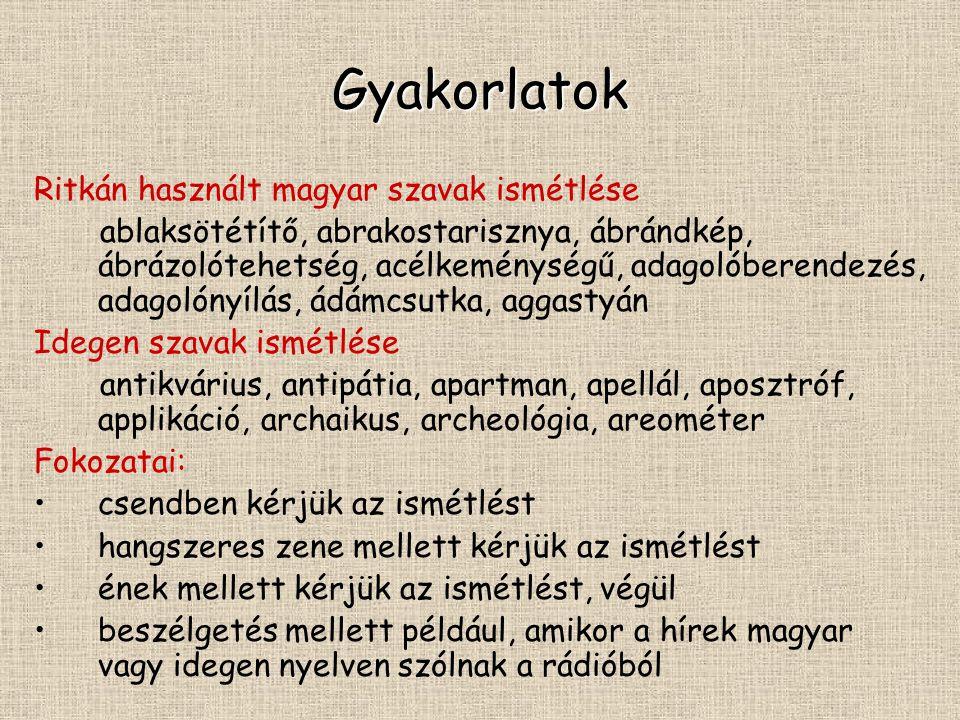 Gyakorlatok Ritkán használt magyar szavak ismétlése ablaksötétítő, abrakostarisznya, ábrándkép, ábrázolótehetség, acélkeménységű, adagolóberendezés, a