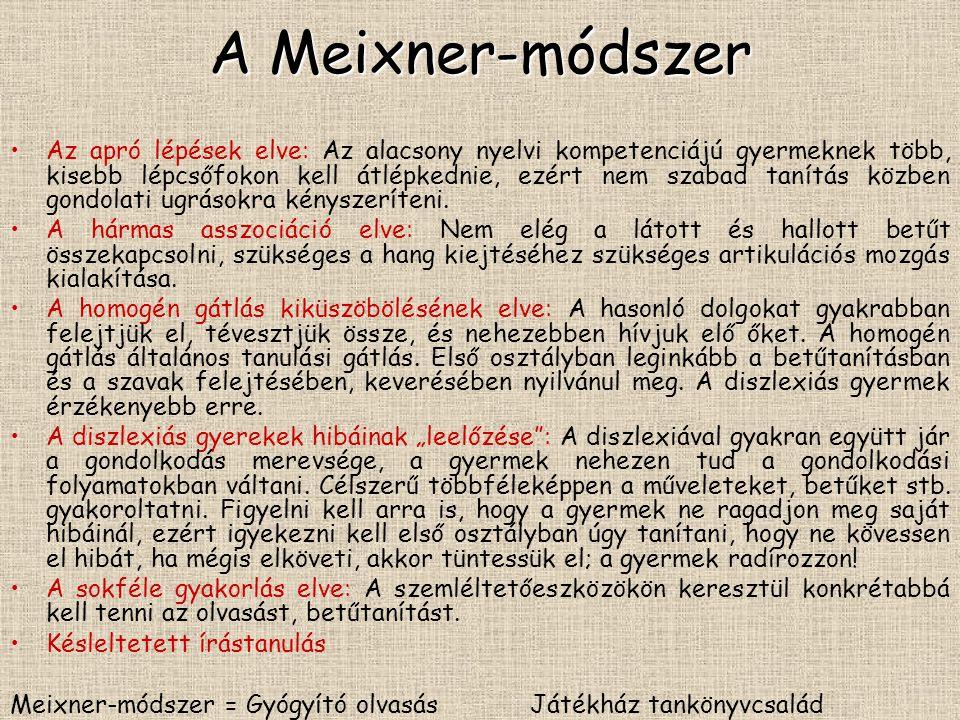 A Meixner-módszer Az apró lépések elve: Az alacsony nyelvi kompetenciájú gyermeknek több, kisebb lépcsőfokon kell átlépkednie, ezért nem szabad tanítá