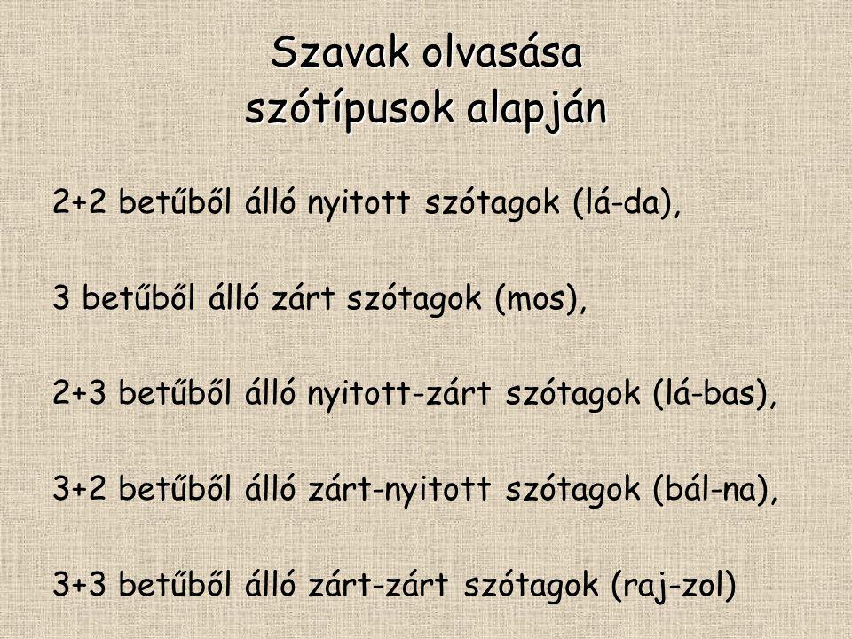 Szavak olvasása szótípusok alapján 2+2 betűből álló nyitott szótagok (lá-da), 3 betűből álló zárt szótagok (mos), 2+3 betűből álló nyitott-zárt szótagok (lá-bas), 3+2 betűből álló zárt-nyitott szótagok (bál-na), 3+3 betűből álló zárt-zárt szótagok (raj-zol)