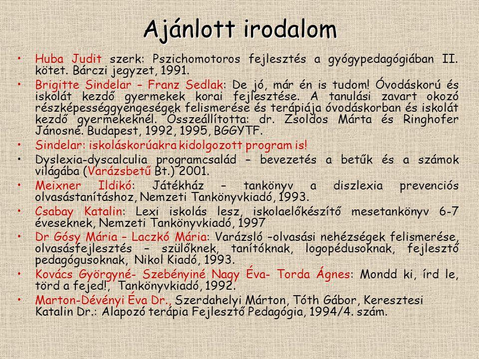 Ajánlott irodalom Huba Judit szerk: Pszichomotoros fejlesztés a gyógypedagógiában II.