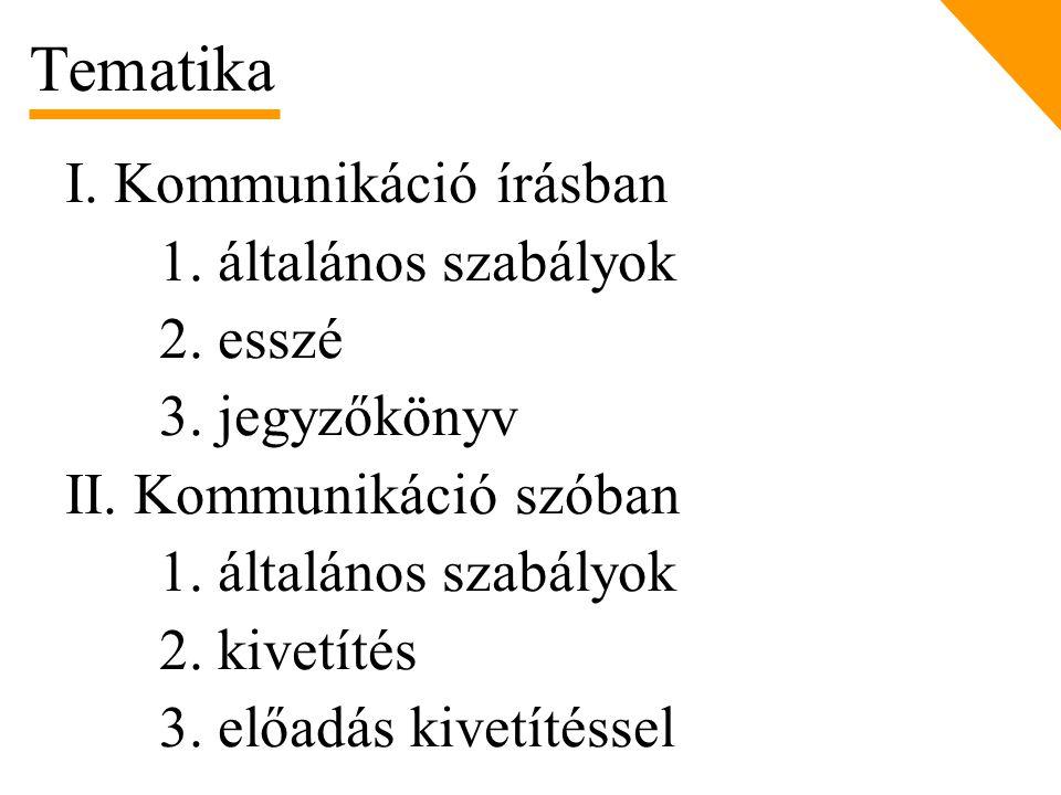 I. Kommunikáció írásban 1. általános szabályok 2. esszé 3. jegyzőkönyv II. Kommunikáció szóban 1. általános szabályok 2. kivetítés 3. előadás kivetíté