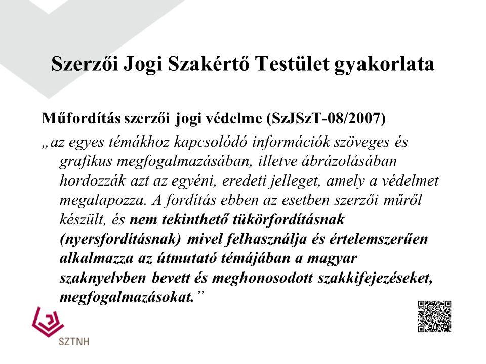 """Műfordítás szerzői jogi védelme (SzJSzT-08/2007) """"az egyes témákhoz kapcsolódó információk szöveges és grafikus megfogalmazásában, illetve ábrázolásáb"""