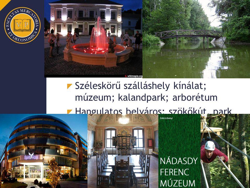Sárvár Szekunder vonzástényezők Fürdő/gyógy/wellness szolgáltatások, település szinten is Széleskörű szálláshely kínálat; múzeum; kalandpark; arborétu