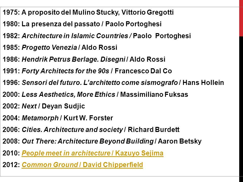 1975: A proposito del Mulino Stucky, Vittorio Gregotti 1980: La presenza del passato / Paolo Portoghesi 1982: Architecture in Islamic Countries / Paol
