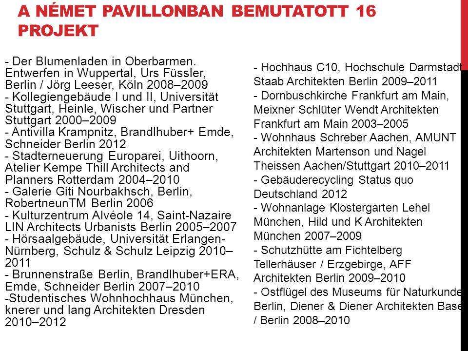 A NÉMET PAVILLONBAN BEMUTATOTT 16 PROJEKT - Der Blumenladen in Oberbarmen. Entwerfen in Wuppertal, Urs Füssler, Berlin / Jörg Leeser, Köln 2008–2009 -