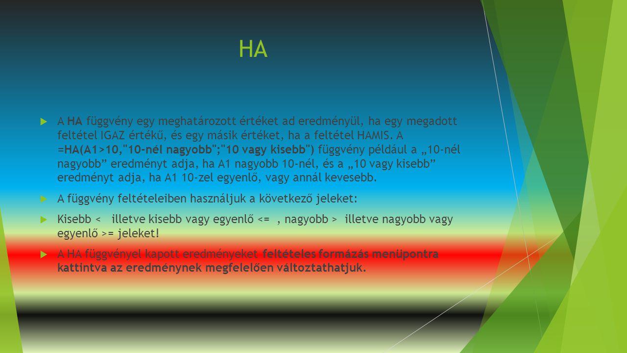 HA  A HA függvény egy meghatározott értéket ad eredményül, ha egy megadott feltétel IGAZ értékű, és egy másik értéket, ha a feltétel HAMIS. A =HA(A1>