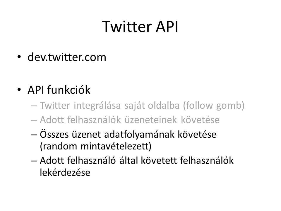 Twitter API dev.twitter.com API funkciók – Twitter integrálása saját oldalba (follow gomb) – Adott felhasználók üzeneteinek követése – Összes üzenet a