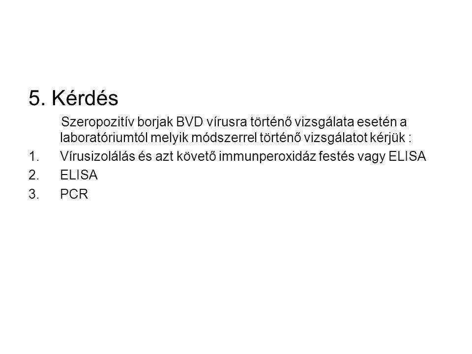 5. Kérdés Szeropozitív borjak BVD vírusra történő vizsgálata esetén a laboratóriumtól melyik módszerrel történő vizsgálatot kérjük : 1.Vírusizolálás é