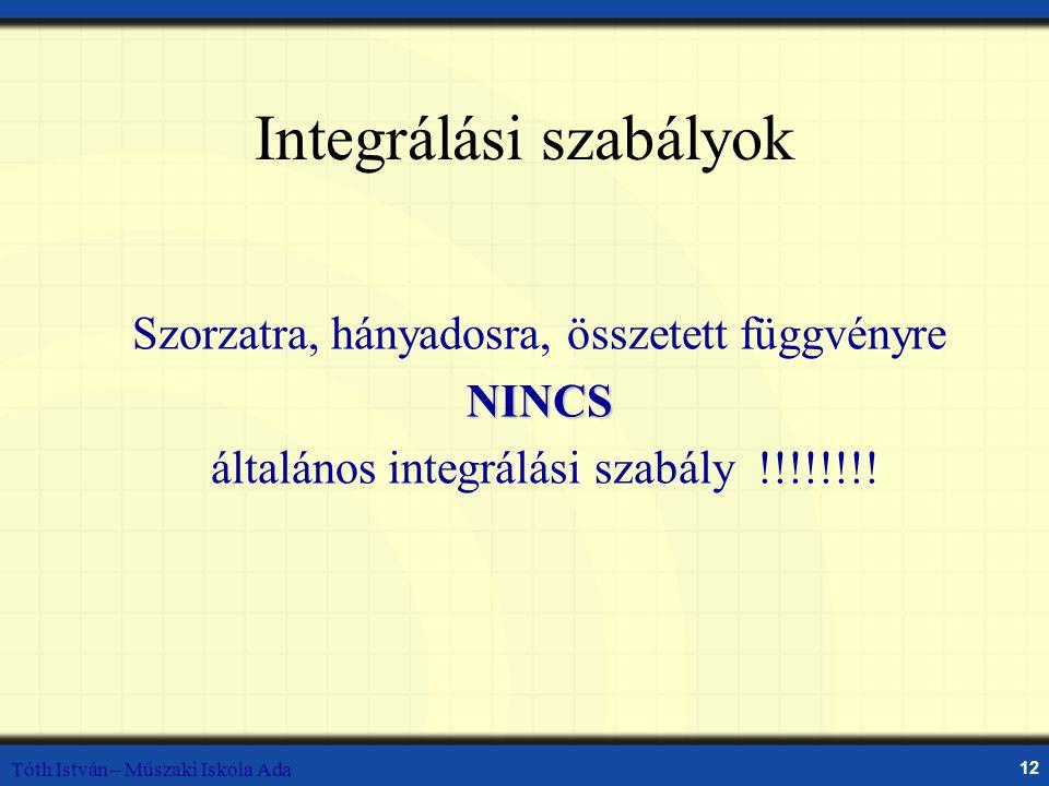 Tóth István – Műszaki Iskola Ada 12 Integrálási szabályok Szorzatra, hányadosra, összetett függvényreNINCS általános integrálási szabály !!!!!!!!
