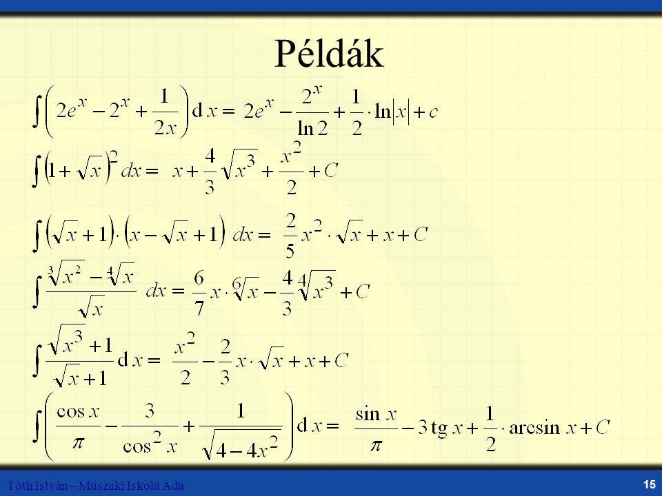 Tóth István – Műszaki Iskola Ada 15 Példák