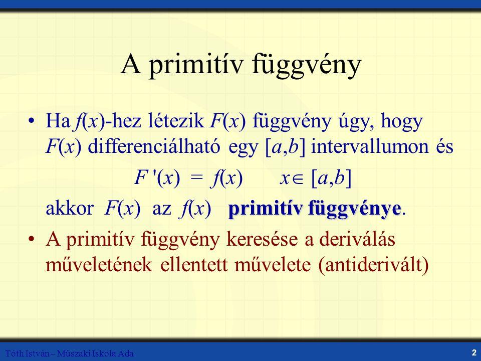 Tóth István – Műszaki Iskola Ada 2 A primitív függvény Ha f(x)-hez létezik F(x) függvény úgy, hogy F(x) differenciálható egy [a,b] intervallumon és F (x) = f(x) x  [a,b] primitív függvénye akkor F(x) az f(x) primitív függvénye.