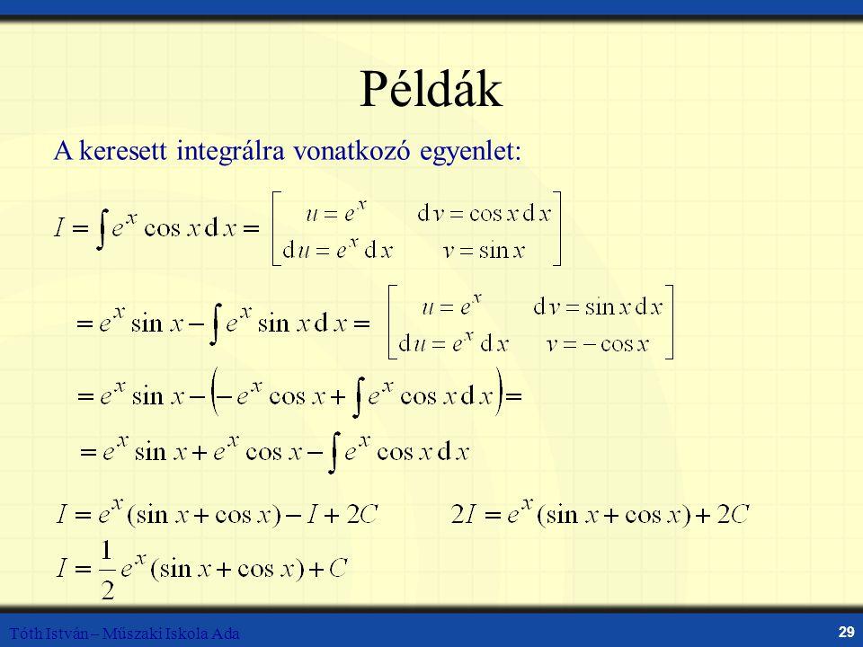 Tóth István – Műszaki Iskola Ada 29 Példák A keresett integrálra vonatkozó egyenlet: