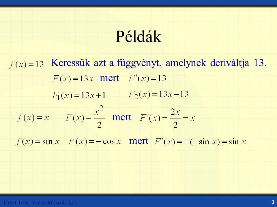 Tóth István – Műszaki Iskola Ada 3 Példák Keressük azt a függvényt, amelynek deriváltja 13. mert