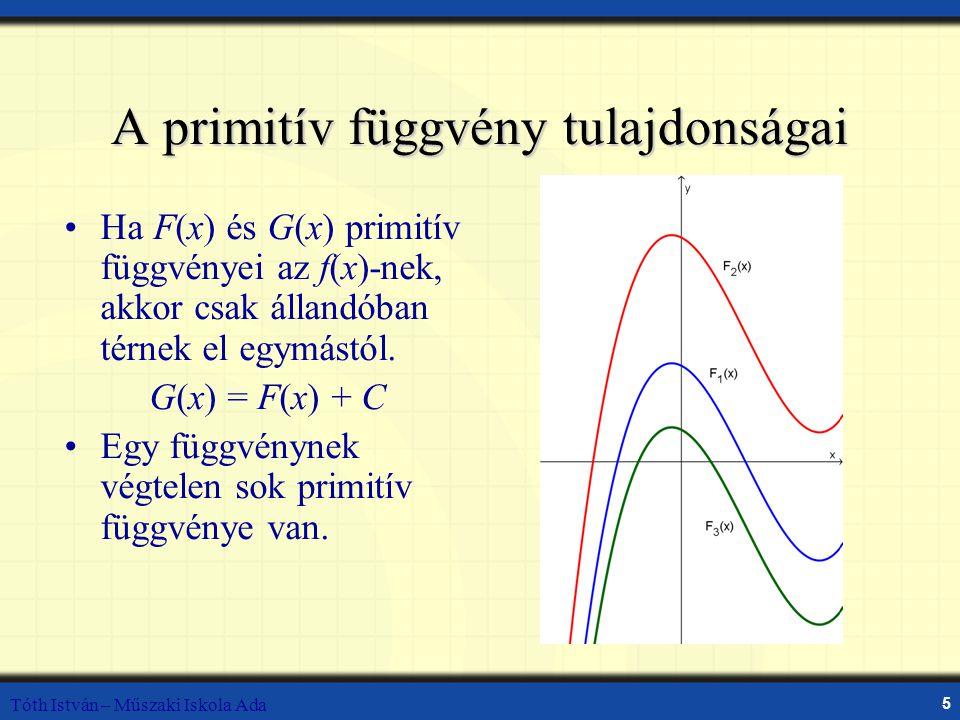 Tóth István – Műszaki Iskola Ada 5 Ha F(x) és G(x) primitív függvényei az f(x)-nek, akkor csak állandóban térnek el egymástól. G(x) = F(x) + C Egy füg