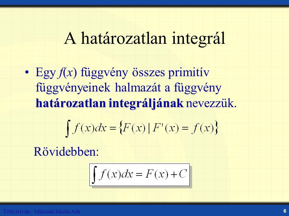 Tóth István – Műszaki Iskola Ada 6 A határozatlan integrál határozatlan integráljánakEgy f(x) függvény összes primitív függvényeinek halmazát a függvény határozatlan integráljának nevezzük.