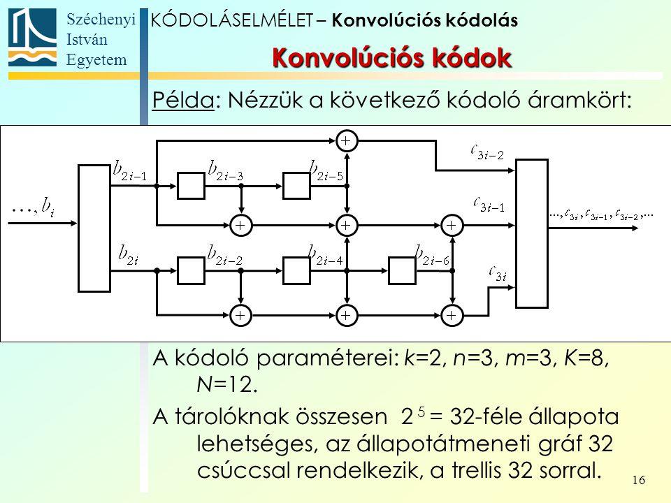 Széchenyi István Egyetem 16 Példa: Nézzük a következő kódoló áramkört: A kódoló paraméterei: k=2, n=3, m=3, K=8, N=12.