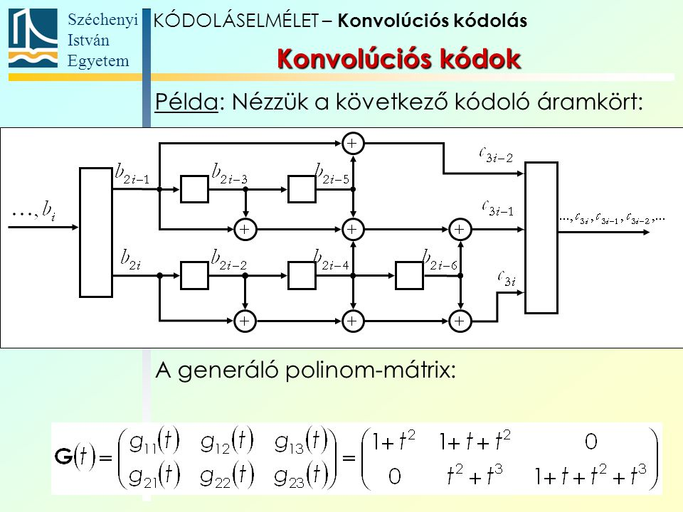 Széchenyi István Egyetem 18 Példa: Nézzük a következő kódoló áramkört: A generáló polinom-mátrix: Konvolúciós kódok KÓDOLÁSELMÉLET – Konvolúciós kódolás