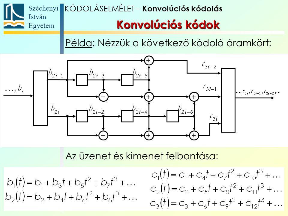 Széchenyi István Egyetem 19 Példa: Nézzük a következő kódoló áramkört: Az üzenet és kimenet felbontása: Konvolúciós kódok KÓDOLÁSELMÉLET – Konvolúciós kódolás