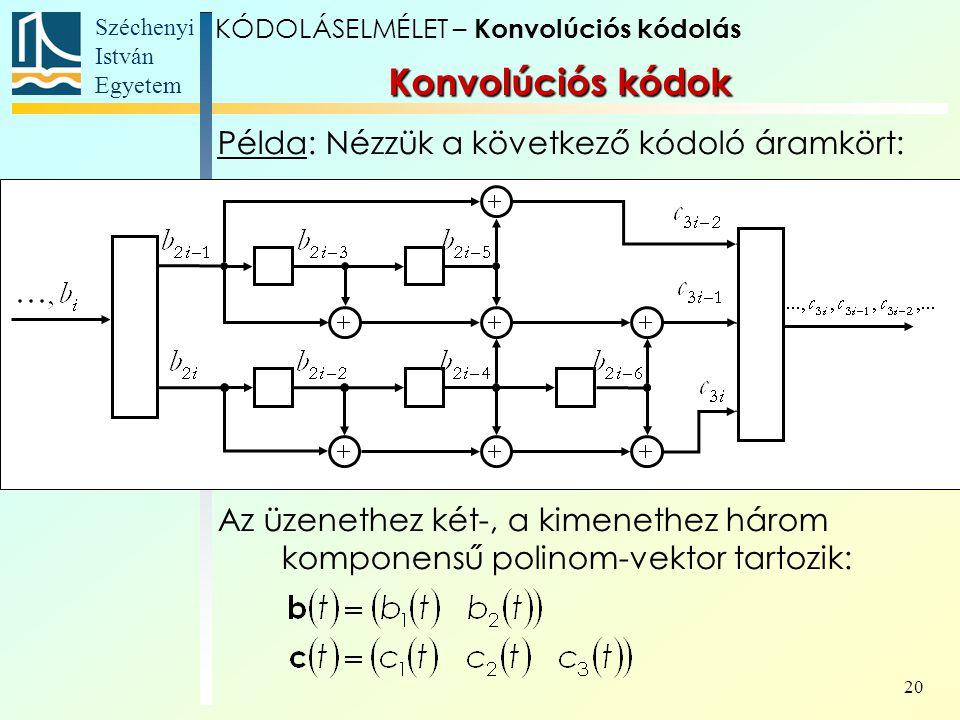 Széchenyi István Egyetem 20 Példa: Nézzük a következő kódoló áramkört: Az üzenethez két-, a kimenethez három komponensű polinom-vektor tartozik: Konvolúciós kódok KÓDOLÁSELMÉLET – Konvolúciós kódolás