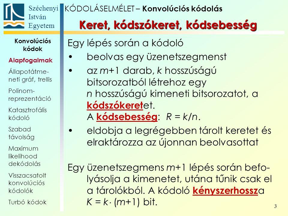 Széchenyi István Egyetem 3 Keret, kódszókeret, kódsebesség Egy lépés során a kódoló beolvas egy üzenetszegmenst az m+1 darab, k hosszúságú bitsorozatból létrehoz egy n hosszúságú kimeneti bitsorozatot, a kódszókeret et.