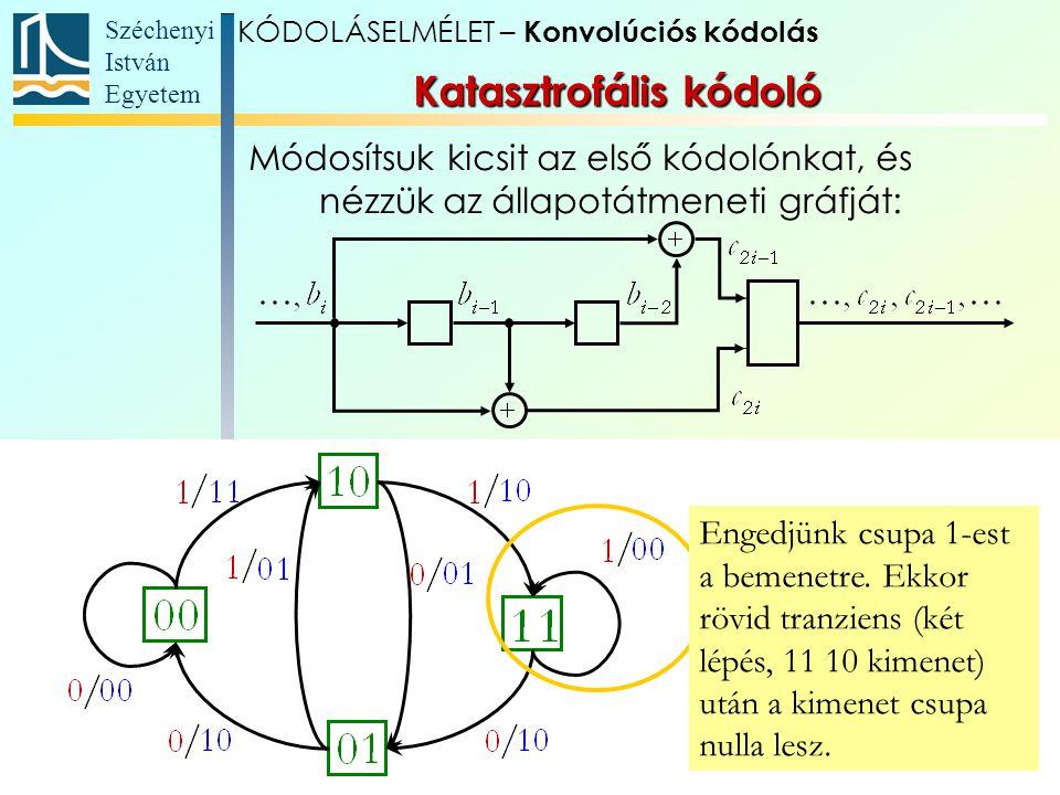 Széchenyi István Egyetem 31 Katasztrofális kódoló Módosítsuk kicsit az első kódolónkat, és nézzük az állapotátmeneti gráfját: Engedjünk csupa 1-est a bemenetre.