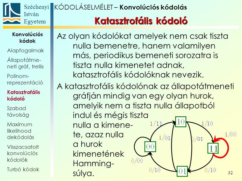 Széchenyi István Egyetem 32 Az olyan kódolókat amelyek nem csak tiszta nulla bemenetre, hanem valamilyen más, periodikus bemeneti sorozatra is tiszta nulla kimenetet adnak, katasztrofális kódolóknak nevezik.