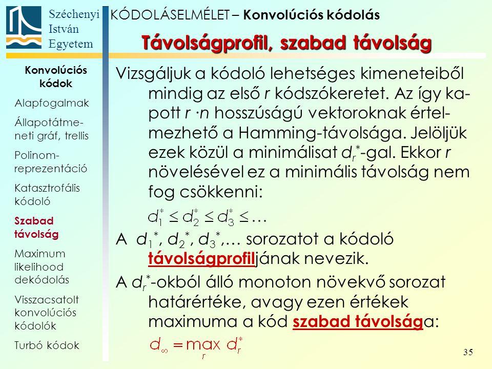 Széchenyi István Egyetem 35 Távolságprofil, szabad távolság Vizsgáljuk a kódoló lehetséges kimeneteiből mindig az első r kódszókeretet.